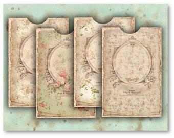 Antique Floral Envelopes Digital Collage Sheet Download -530- Digital Paper - Instant Download Printables