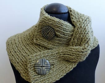 Wool twisted detail neck warmer cowl with large buttons