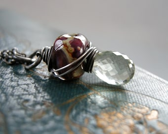 wire wrapped glass and amethyst necklace, handmade glass lampwork bead and green amethyst necklace, handmade necklace