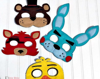 Five Nights at Freddy's inspired 4 piece mask set