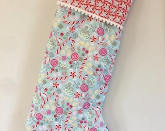 Christmas stocking - candy cane and pinwheels