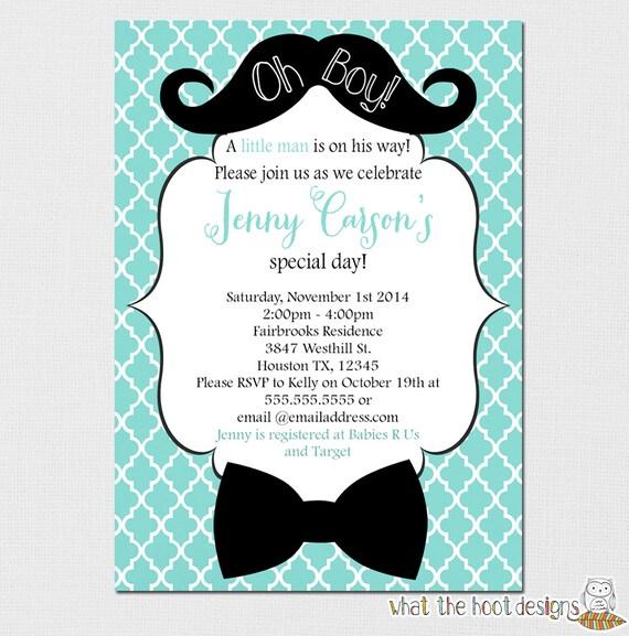 Wonderful Little Man Invitation, Oh Boy Invitation, Mustache Baby Shower, Bow Tie Baby  Shower, Baby Shower, Little Man Birthday Party Printable