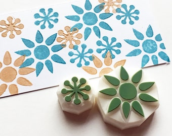 flower rubber stamps | botanical patterns | birthday gift wrapping | card making | gift for her | hand carved by talktothesun | set of 2