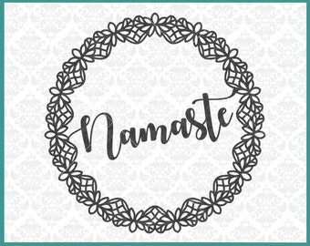 CLN0275 Namaste Boho Mandala Intricate Relax Zen Meditate SVG DXF Ai Eps PNG Vector Instant Download Commercial Cut File Cricut Silhouette