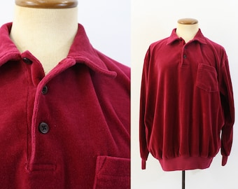 Vintage 1960s Velour Shirt / 60s Mens Red Velour Pullover / Medium mvtCiAl