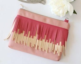 Fringe bag Pink vegan leather Crossbody Bag Summer purse Fringe Cross body bag Bink handbag Summer handbag for woman
