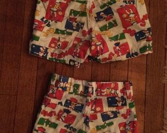 Sears Roebuck and co super cute girls shorts tennis theme, 2 pair