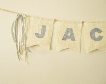 Cream Burlap Banner - Name Flags - Burlap Ribbon Garland - burlap word - rustic banner - Banner for weddings - swallow tail - party decor