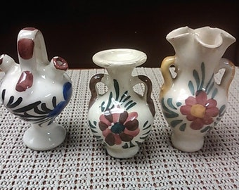 Set of 3 mini (white) hand painted vases from Spain in mid 1900s