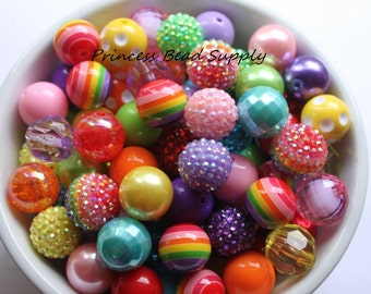 Pink Rainbow Bead Mix,  20mm Chunky Bulk Beads,  Bulk Bead Mix, Wholesale Beads, 100 Bubble Gumball Beads 20mm Wholesale Beads