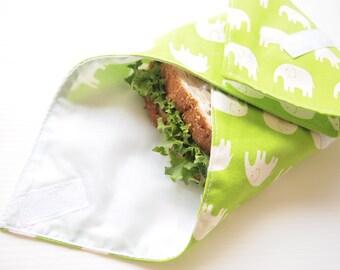 Sandwich van Wrap met voedsel-veilig Nylon voering - groene olifant