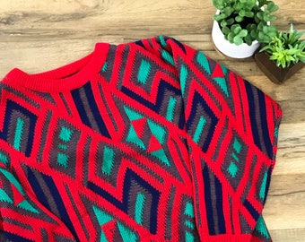 80's Vintage Women's Sweater Crewneck Geometric Design Red Size Small