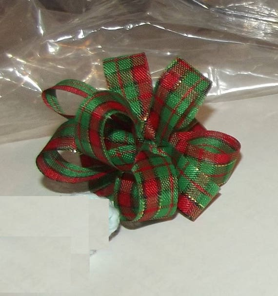 Puppy Bows ~ Christmas gold threads red green dog party puffs  pet hair bow (fb49)