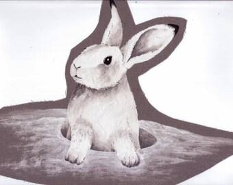 Application textile M. Lapin blanc sort de sa tanière ! 27 x 22 cm