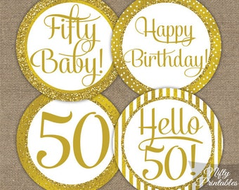 50th Birthday Cupcake Toppers - Gold 50th Birthday Toppers - Printable 50 Year Old Birthday Party Decorations - 50th Birthday Favor Tags GLD