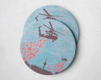 Banksy Drink Coasters – Absorbent Coaster Set of 10 – Coasters for Women & Men – Heavyweight Reusable Thick Pulpboard - Heart Bombs