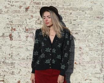 Bohemian sweater, hippie vest, floral cardigan