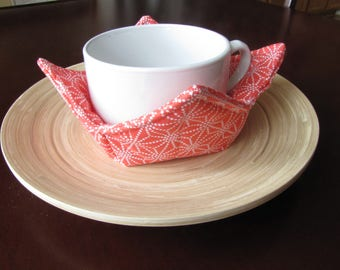Bowl Pot Holder, Bowl Carry Placemat, Set of Two, Soup Carrier, Peach Orange and White Dots