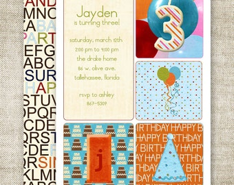 BOY BIRTHDAY Party INVITATIONS Party Digital Printable Cards Candle Balloons Party Hat - 81437489