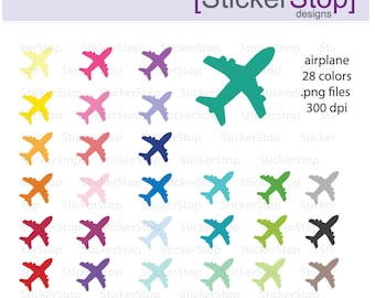 Airplane Clipart 28 colors, PNG Digital Clipart - Instant download - plane, aeroplane, jet, travel, vacation