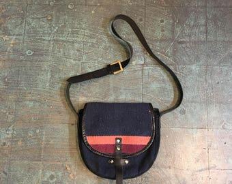 Vintage 70s kilim tapestry blanket shoulder saddle bag purse