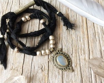 Bohemian choker necklace, tribal jewelry, gypsy necklace, gift for her, ethnic boho hippie jewelry