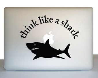Think like a shark decal for laptop - think like a shark laptop sticker - laptop decal - gift for student