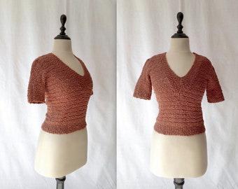 terracotta bouclé sweater