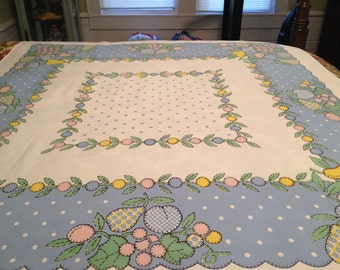 Vintage Applique Quilt Fruit Tablecloth