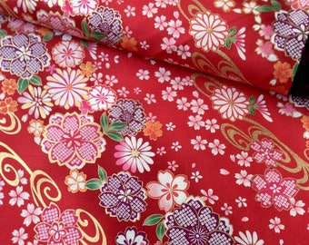 Japanese fabric, flowers, red background 110 x 50 (267)