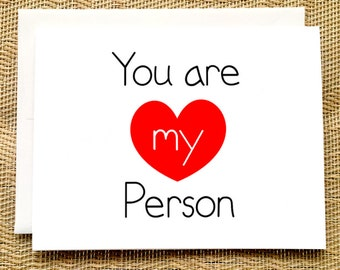 My Person Card Best Friend Card Valentine Card I You