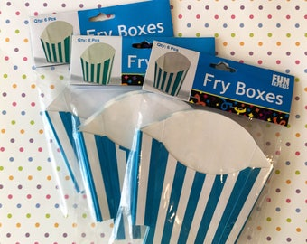 Halloween Treat Boxes / Turquoise Stripe Fry Boxes / Birthday Party favors / Party Treats / Treat Box / Candy Box / Holiday Treats