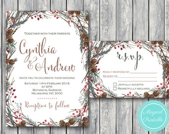 Pinecone Wedding Invitation Set, Wedding Invitation Printable, Baby Shower, Personalized, Wedding Invitation Suite TH58 WI42