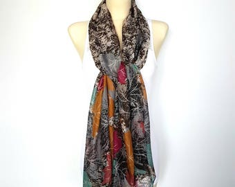 Black Brown Scarf Women Scarves Floral Womens Warm Shawl Womens Scarves Warm Brown Scarf Wrap Shawl Spring Scarf Gifts for Mom Gift