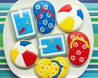 One Dozen Pool Party Sugar Cookies