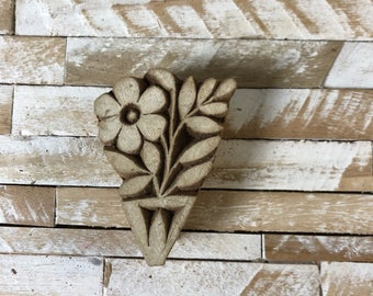 Vintage Wood Printing Block Stamp Made in India Floral/Flower Design (#47)