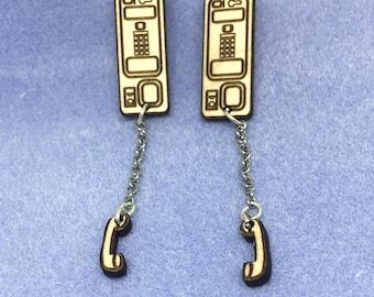 Off the Hook Payphone Maple Wood Stud Earrings