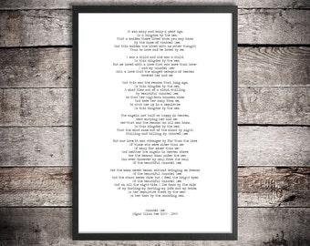 Edgar Allen Poe Digital Download Poem 'Annabel Lee' Instant Printable Poetry Love Poem Romantic Gift Love After Death Poster Hand Typed Gift
