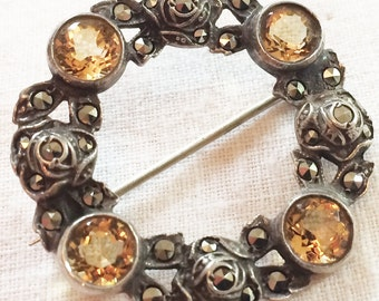Vintage Brooch, Citrine and Marcasite Circle in Silver Setting.