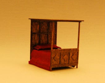 1/4 inch scale miniature-Gothic Canopy Bed