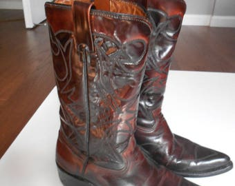 Vintage Oxblood  Brown Leather men's Western Cowboy Boots size 11 /Sears Western Oxblood Boots