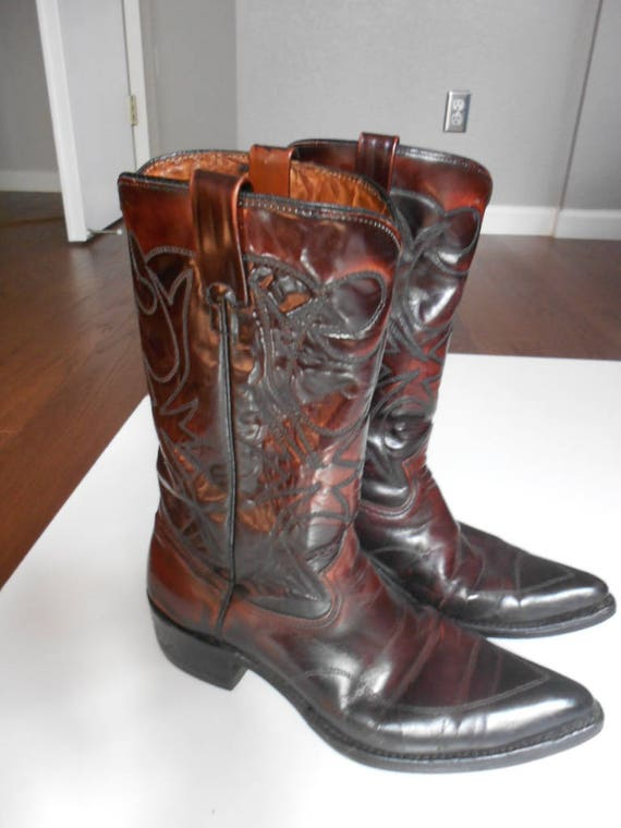 vintage oxblood leather mens roper boots KMSQB