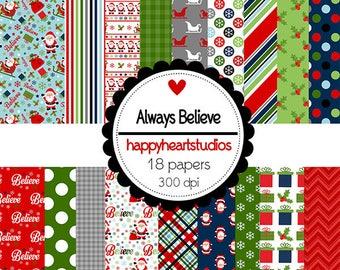 DigitalScrapbooking Always Believe - INSTANT DOWNLOAD, Christmas, Santa