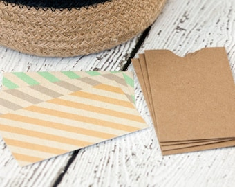 Set of 12 mini notes with diagonal stripes, note cards, lunchbox notes,