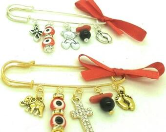 Azabache safety pin, azabache pin, cross pin, gold stroller pin, baby shower gift, mom to be gift, diaper bag pin, evil eye pin, baby pin