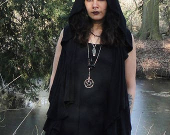 Autumn black hooded vest | OOAK Eco-friendly repurposed materials