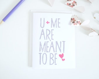 Block Print You and Me Love Card