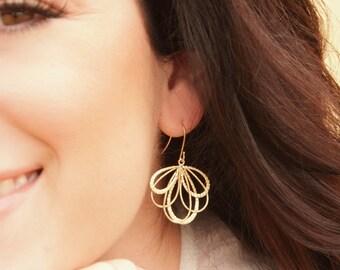 Matte Gold Fan Earrings