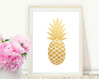 Gold Pineapple Print, Printable Art, Gold Pineapple Art, Pineapple Printable, Pineapple Print, Pineapple Decor, Wall decor, Instant Download