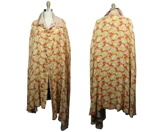 1930s Silk Lined Reversible Cape with Art Deco Pattern
